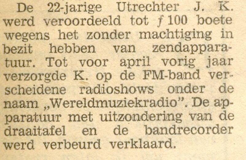 Utrecht Nieuwsblad 2 februari 1977: De Veroordeling