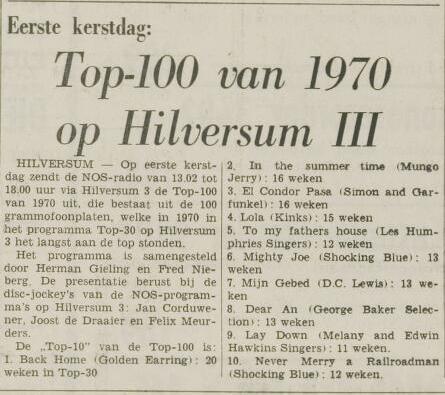 Leidsch Dagblad  23 december 1970 (Aankondiging uitzending Top 100 van 1970  op 1e kerstdag).PNG