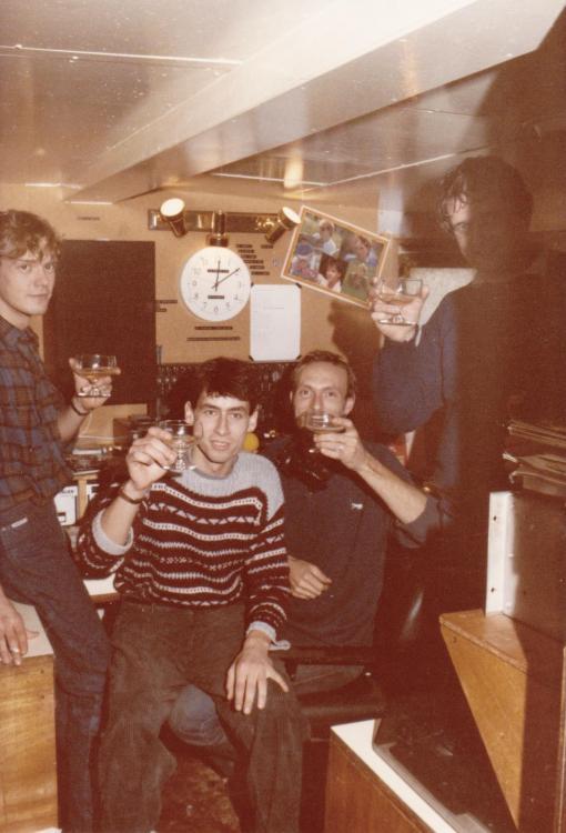 Frits Koning,Maarten de Jong, Ad Roberts,Fred Bolland,opening radio Monique 1984 Ross Revenge.jpg