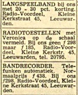 Veronica Advertentie 1965-02-19 Radio Voordeel KlKerkstr 45 Leeuwarden (was nr, 43) Radio met Veronica op de schaal .jpg