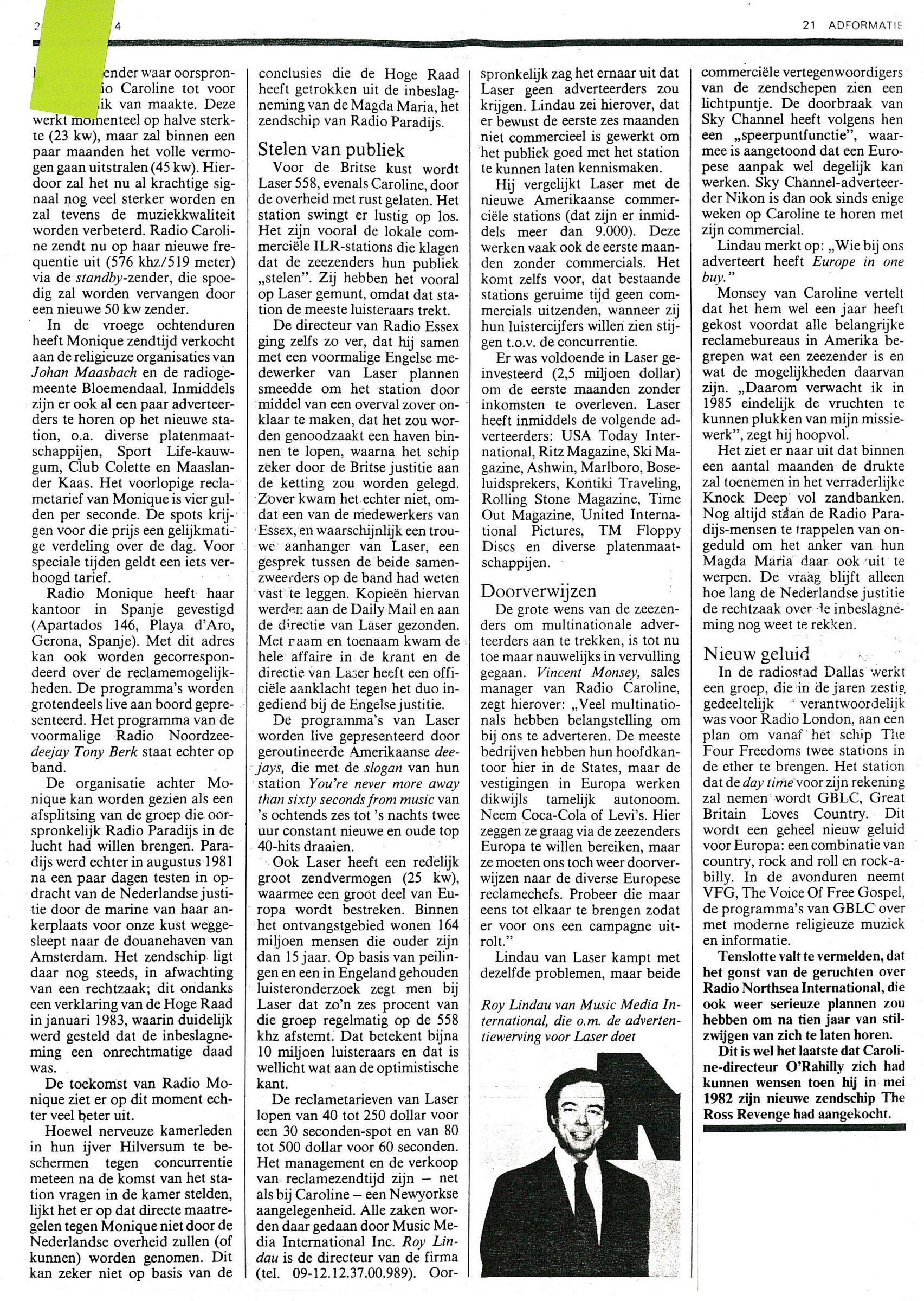 19850124 Adformatie Zeezenders verwachten dit jaar multinationale adverteerders laser caroline 02.jpg