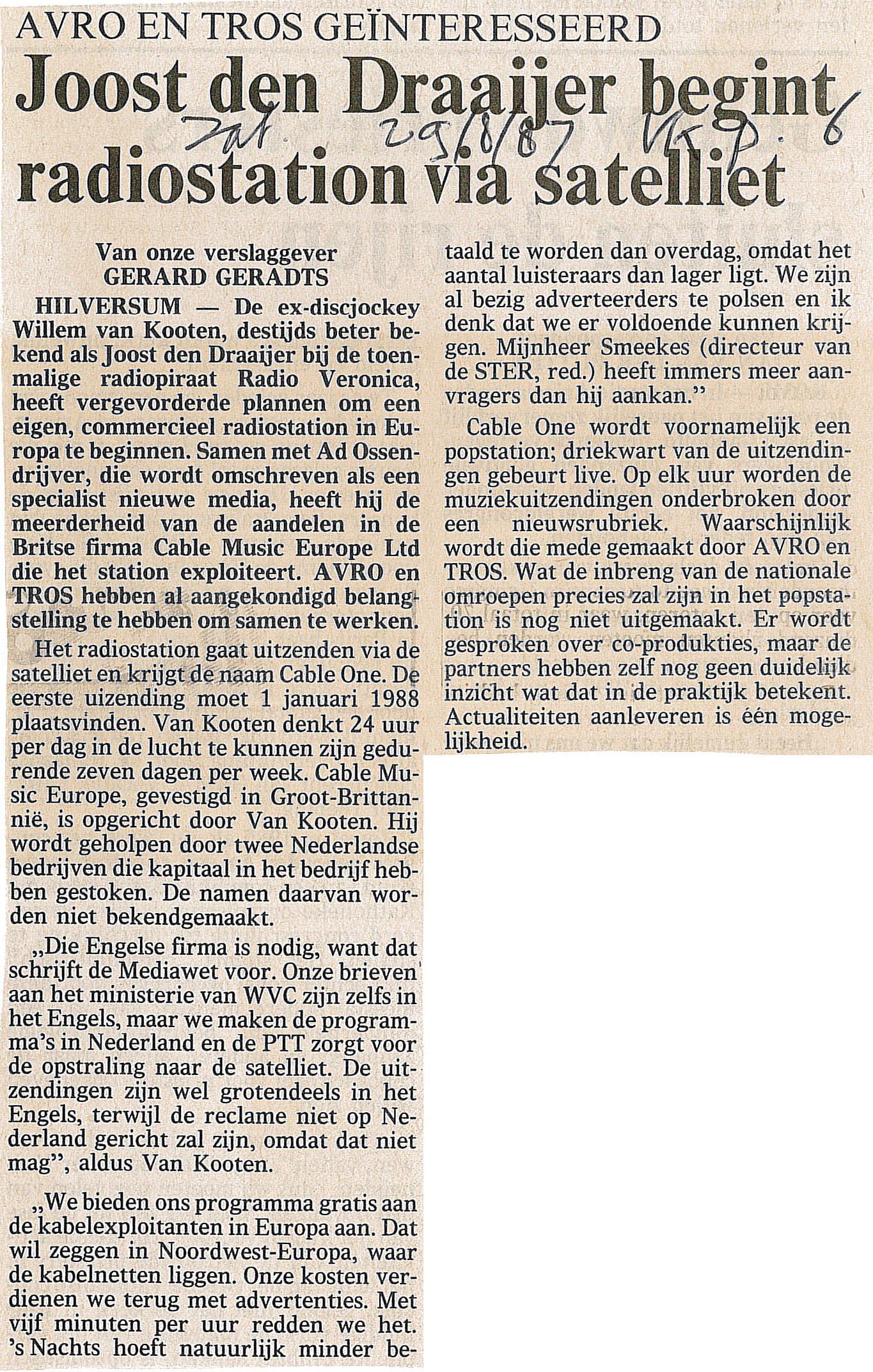 19870829 VK Joost den Draaijer begint radiostation via satelliet Cable one.jpg