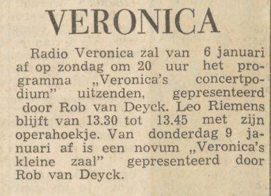 Veronica 1963-01-05 Vanaf 6 Januari het programma Concertpodium uitzenden door Rob van Deyck(Nieuwsblad van het Noorden).jpg