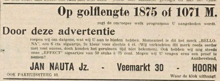Hilversum I 22-02-1930  Golflengte 1875 of 1071 M. Bellona en Effect sigaartje. Jan Nauta Jz  Hoorn.jpg
