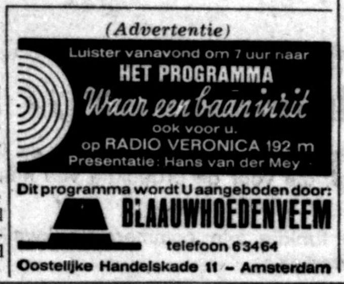 Veronica 1965-10-08  Waar een baan In Zit Luister vanavond (Vrijdag) om 1900.  Blaauwhoedenveem.jpg