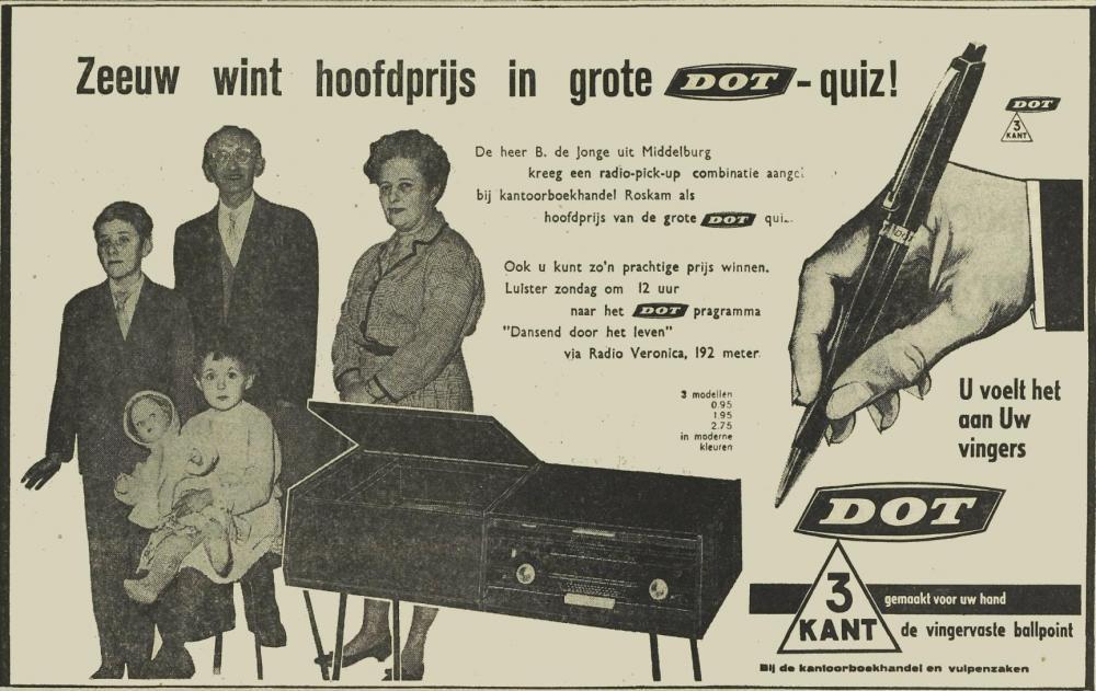 Veronica 1962-04-07 DOT programma - Dansen Door Het Leven. Zondag 1200 uur DOT Quiz hoofdprijs..jpg