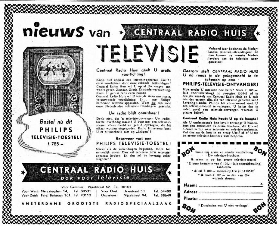 Televisie Advertentie 1950-10-21 Centraal radiohuis. Bestel nu dit Philips televisie toestel.jpg
