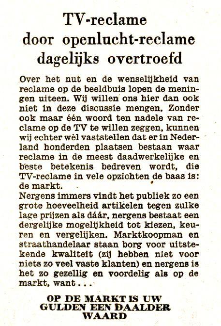 01-04-1964 Tv reclame door openluchtreclame overtroefd. Op de markt is uw gulden een daalder waard.jpg