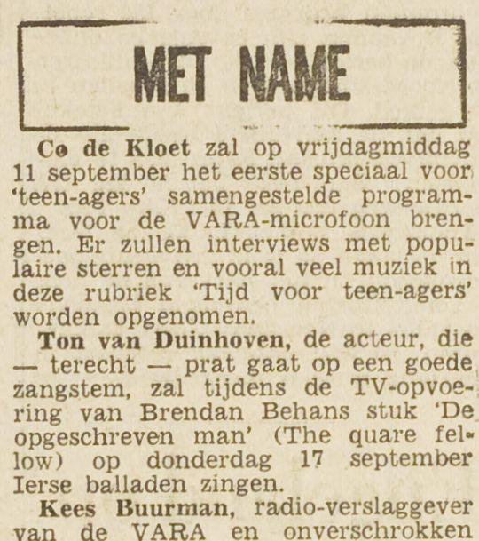 Tijd Voor Teenagers 1959-09-09 Co De Kloet. Speciaal teenager programma (Het vrije volk).jpg