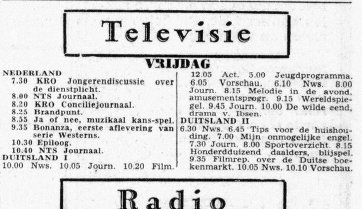 De Telegraaf Bonanza 1e aflevering 2135    25-10-1963 .jpg