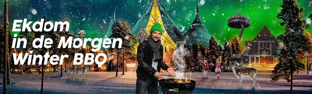 Danny Vera zingt zijn hit 'Roller Coaster' in rollercoaster voor Ekdom in de Morgen Winter BBQ
