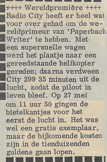 1966 Hitweek Radio City premiere Paperback writer.jpg