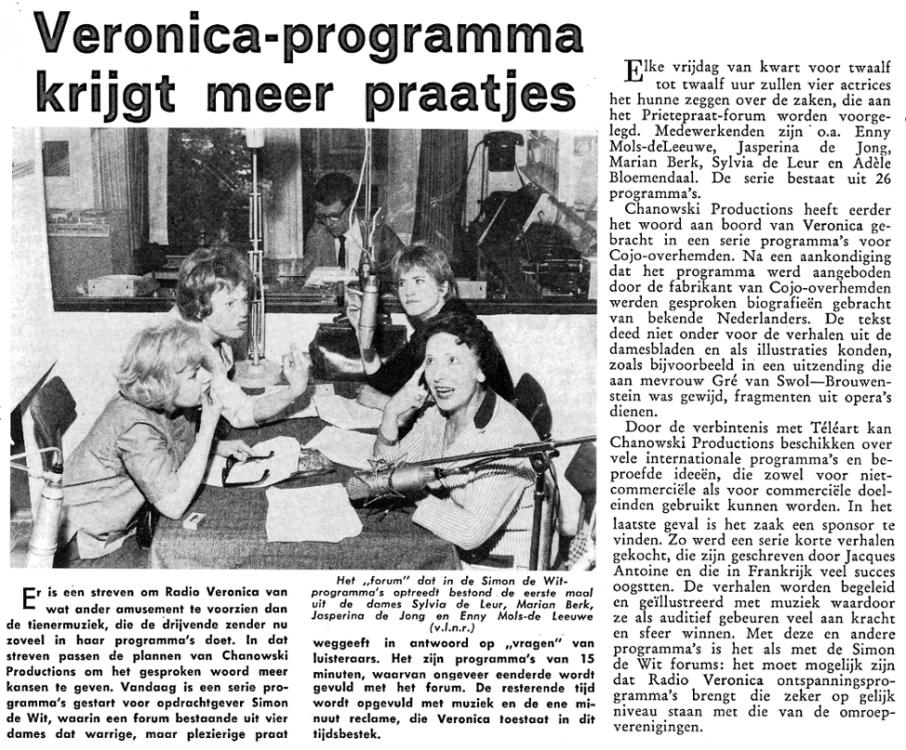 Veronica 1963-07-05 Veronica programma krijgtmeer praatjes (Ariadne marketing, reclame, tijdschriften).png