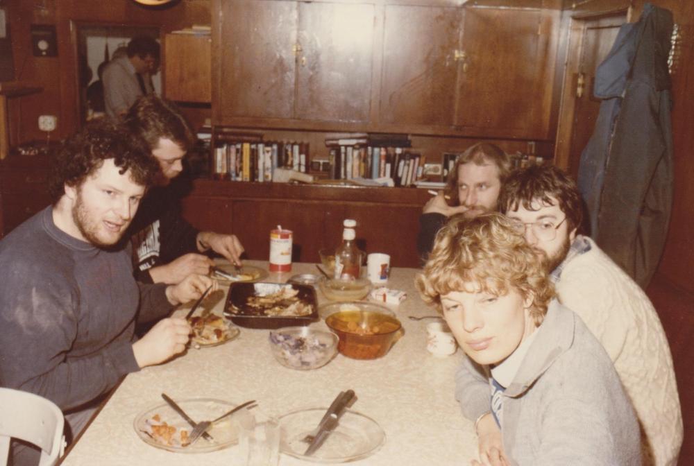 Dart competition Easter 1985 Ross Revenge,Johnny Lewis, captain Ian,Mike Barrington,John Burch, Marjo Marcus.jpg