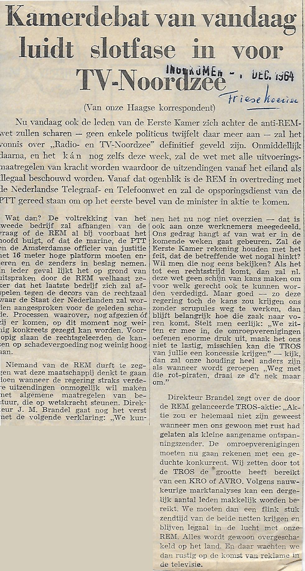 19641201 Friese Koerier Kamerdebat van vandaag slotfase voor TV Noordzee.jpg
