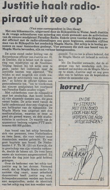19810803 NVHN Justitie haalt radiopiraat uit zee op Paradijs.jpg