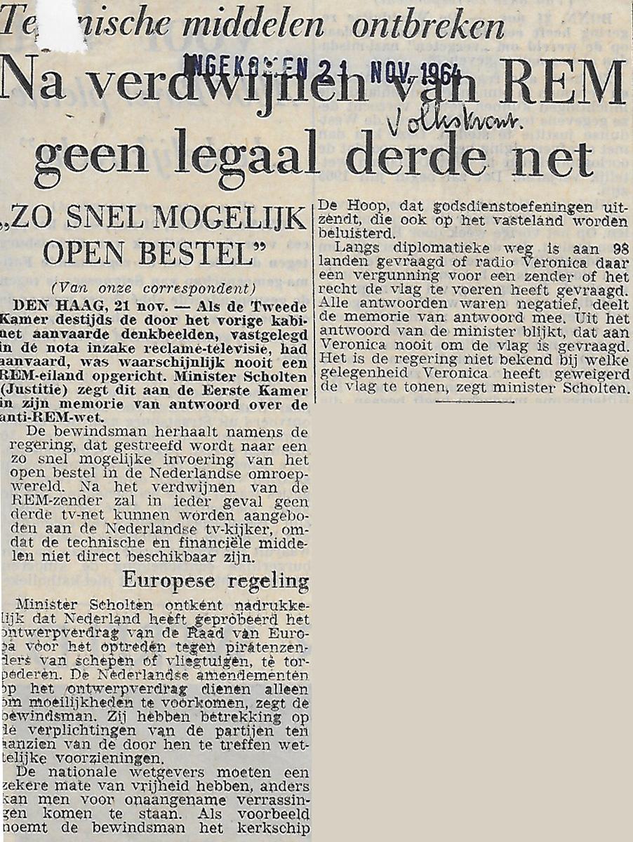19641121 VK Na verdwijnen van REM geen legaal derde net.jpg